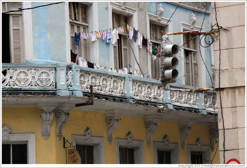 Clothes hanging from window, near Parque de la Libertad (Liberty Park).