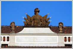 Building detail, with helmet and flags, 1st Courtyard, Prague Castle.
