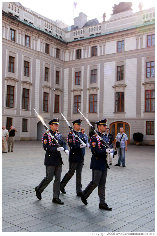 Changing of the guards, 1st Courtyard, Prague Castle.