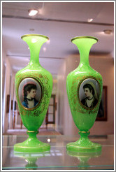 Two vases with portraits.  Nov? Svět in the Giant Mountains, ca 1860.  Flashed uranium alabaster glass, painted enamels.  On loan from the Museum of Decorative Arts in Prague.  National Gallery, Prague Castle.