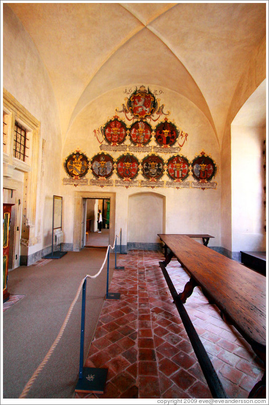 Room containing land rolls, Old Royal Palace, Prague Castle.
