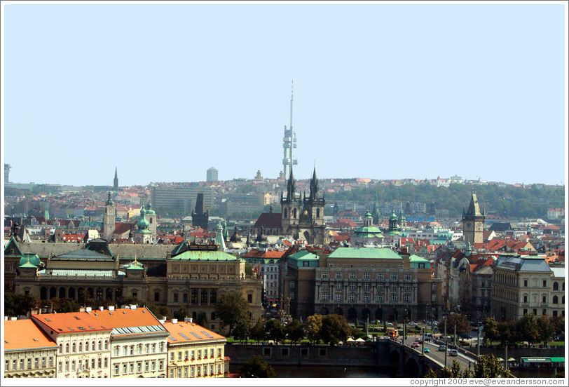 View of Prague from Prague Castle.  The modern television tower, Zizkov Tower, is visible in the background.