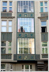 Windows with Star of David and other images, Josefov.