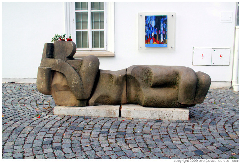 Abstract sculpture/planter outside Museum Kampa, Kampa, Mal?trana.