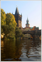 One end of the Charles Bridge (Karlův Most), viewed from the Vltava River.