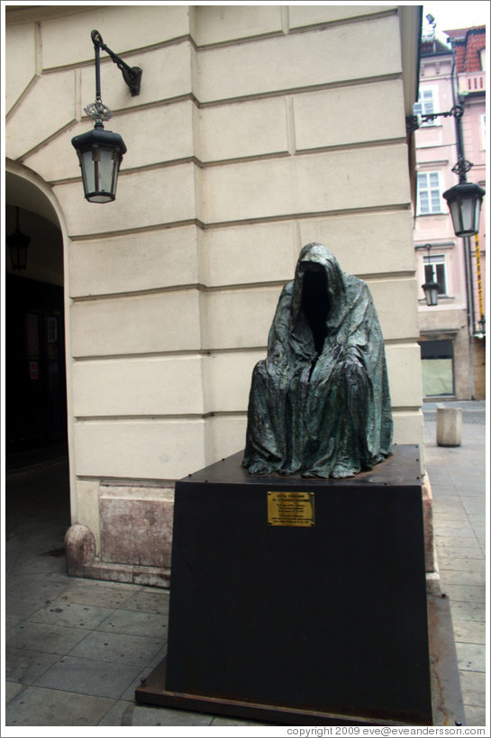 Sculpture commemorating Mozart's opera Don Giovanni, outside the Estates Theatre (Stavovske Divadlo).