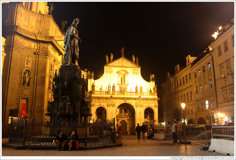 Statue of King Wenceslas (Svat? V?av) and Church of St. Savior (Kostel svat? Salv?ra) at night, Star?ěsto.