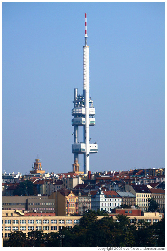 ?i?kov Television Tower, built 1985-1992, viewed from the Powder Tower (Pra?n?r?).