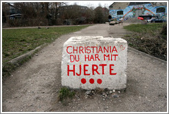 "Rock painted with ""Christiania du har mit hjerte"" (""Christiania you have my heart"")"