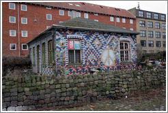 House with tiled walls.  Pattern includes a peace sign.