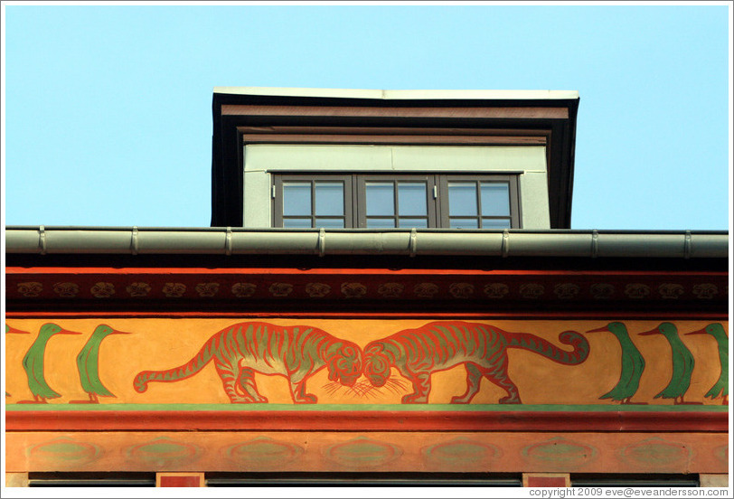 Building detail, with tigers and birds.  Amaliegade, Frederiksstaden district, city centre.