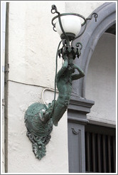 Merman-like light fixture.  Bredgade, Frederiksstaden district, city centre.