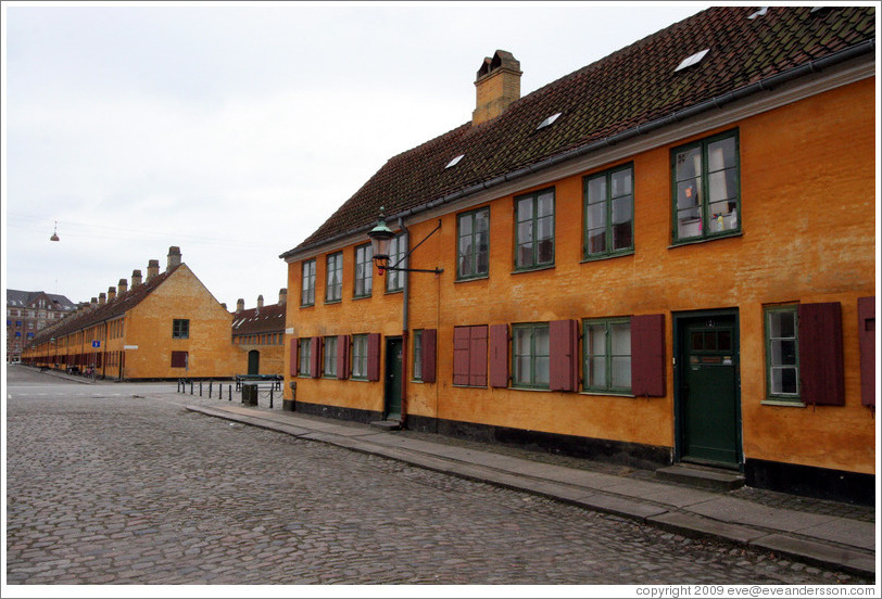 Yellow houses at Oster Voldgade and Suensonsgade.  Nyboder district, city centre.