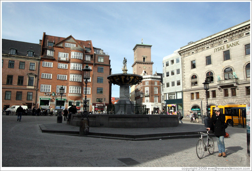 Fountain at Gammeltorv, on the pedestrian street Str?get.  City centre.