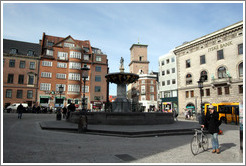 Fountain at Gammeltorv, on the pedestrian street Str�get.  City centre.