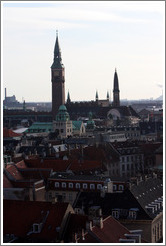 View of Radhuset (city hall) and the Palace Hotel  from Rundetaarn (The Round Tower).