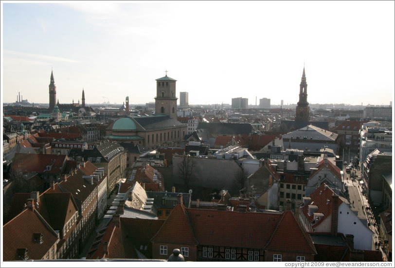 View to the southwest from Rundetaarn (The Round Tower).  The three major skyline features, from left to right, are Radhuset (city hall), Vor Frue Kirke (the Church of Our Lady), and Sankt Petri Kirke.