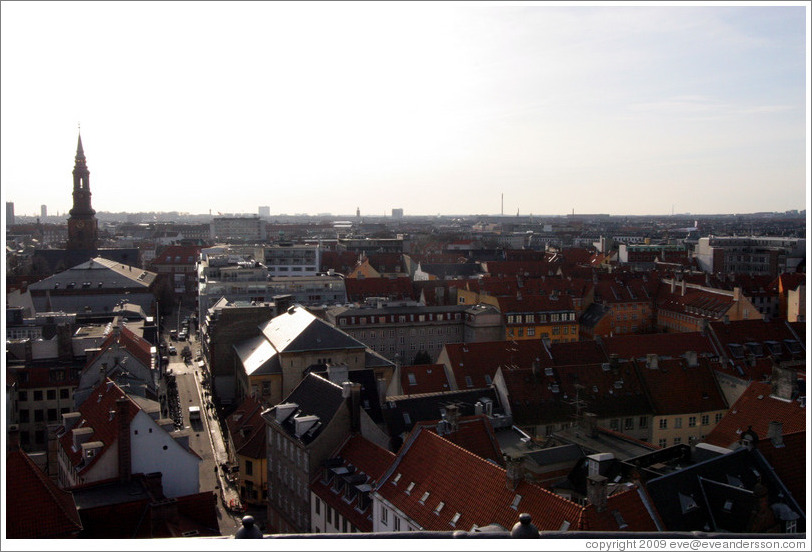 View to the west from Rundetaarn (The Round Tower).  Sankt Petri Kirke can be seen on the left.