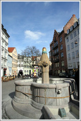 Fountain with fish figures.  Vandkunsten, city centre.