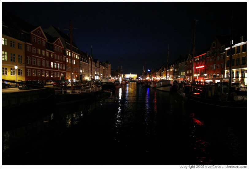 Nyhavn (New Harbor) at night.