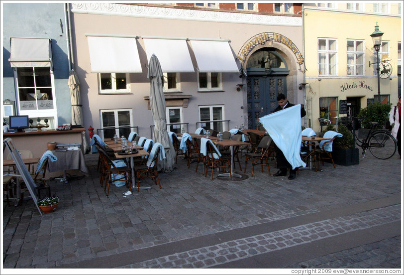 Restaurant with blankets for patrons.  Nyhavn (New Harbor).