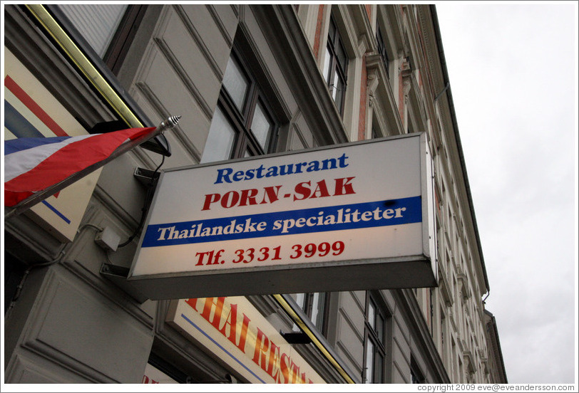 Thai restaurant Porn Sak.  Halmtorvet,  Vesterbro district.
