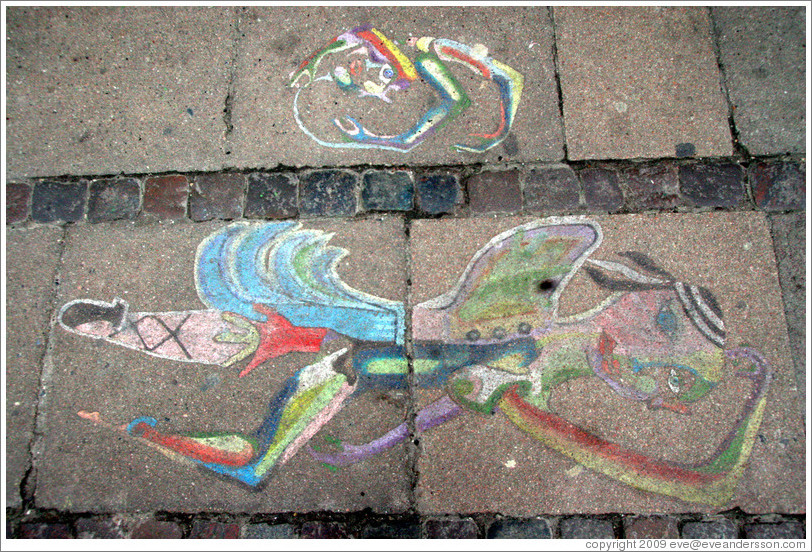 Sidewalk chalk art.  Saxogade, Vesterbro district.