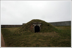 Grassy mound, with door.  Kronborg Castle.  Helsing�r.