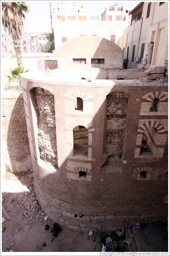 Gatehouse of Babylon Fortress, over which the Hanging Church (El Muallaqa) was built.
