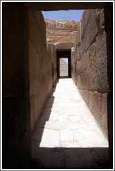 Causeway between the Funerary Temple of Khafre and the Great Sphinx.  The floor is made of alabaster.