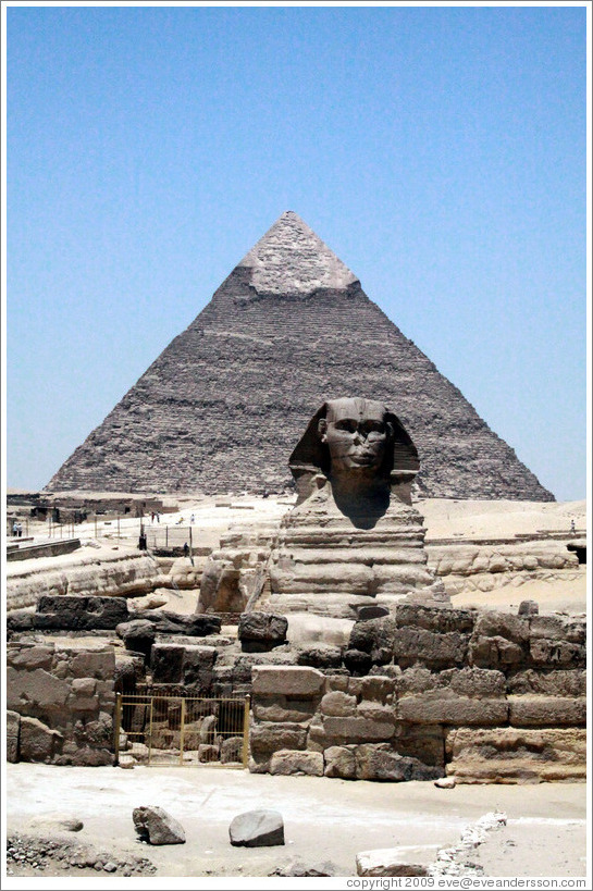 The Great Sphinx, in front of the Pyramid of Khafre.