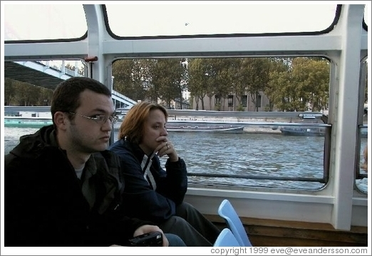 Tracy and Rolf on the Bat-o-Bus, Seine River.