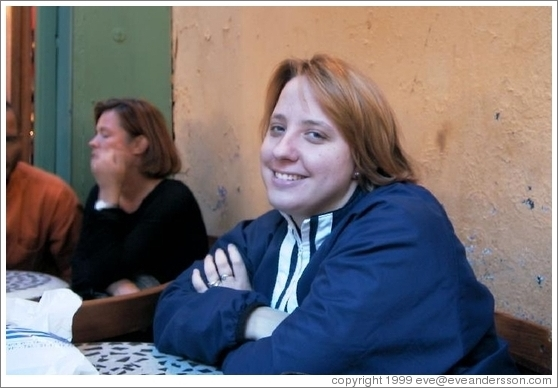 Tracy at a cafe on Rue de Buci.