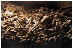 Bones in the catacombs of Paris.