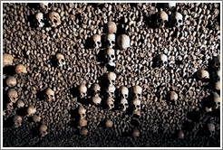 Skulls in the shape of a cross, Paris catacombs.