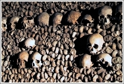 Skulls and bones, Paris catacombs.