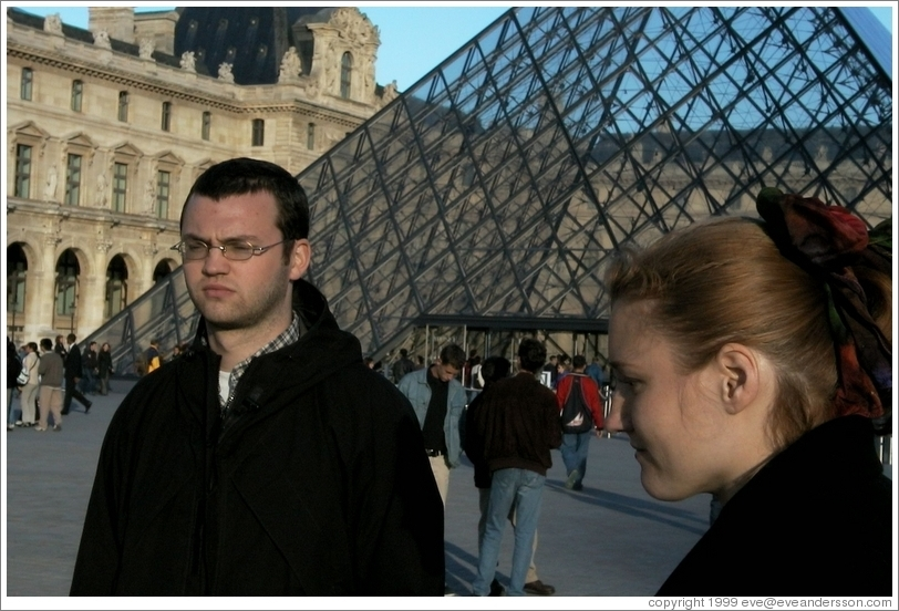 Rolf looking mad in front of the Louvre.