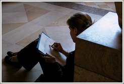 Louvre.  Woman sketching.