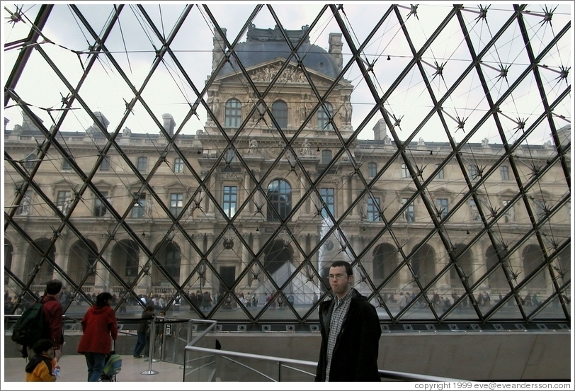Louvre.  Looking out through pyramid entrance.