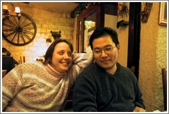 Tracy and Jin at Montparnasse pizza parlor.