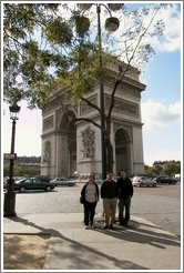 Tracy, Jin, and Rolf in front of the Arc de Triomphe.