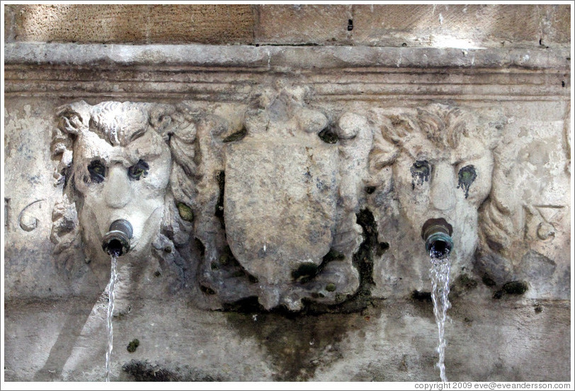 Fontaine Esp?que.  Lion spouts.  Old town.