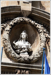 Woman sculpture adorning the facade of the H�tel de Ville (city hall).