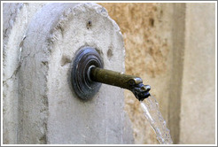Spout on an otherwise nondescript fountain.  Rue Loubon.  Old town.