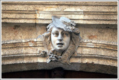 Sculpture of a woman with a hat.  H�tel d'Ailhaud, Epoque Louis XV, Rue Mignet.   Old town.
