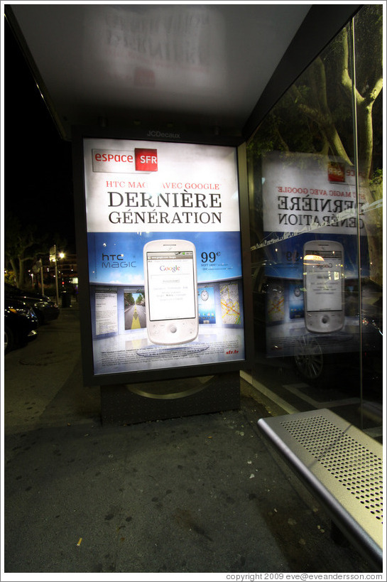 Ad for the HTC Magic phone.  Place de la Rotonde.