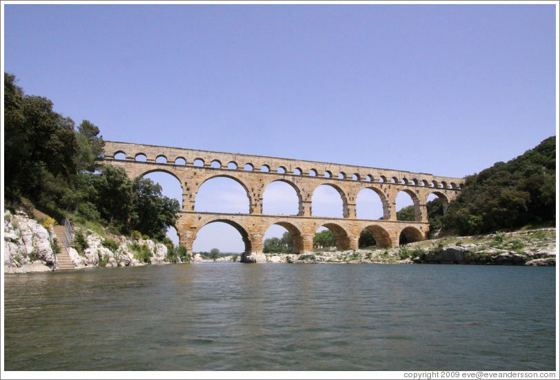 Pont du Gard, a Roman aqueduct built (perhaps) in the 1st century AD.