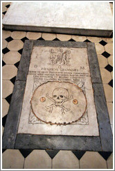 Depiction of skull on floor.  Chapel St Mathieu.