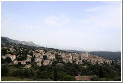 View of the old town of Tourrettes-sur-Loup, from a hill above the town.