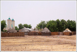 Village with mosque.